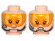 Part No: 3626cpb2171  Name: Minifigure, Head Dual Sided Female Brown Eyebrows, Orange Visor, Chin Strap, Headset, Smile / Angry Pattern - Hollow Stud