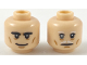 Part No: 3626cpb2183  Name: Minifigure, Head Dual Sided Black Eyebrows Thick, Smile / White Eyebrows and Moustache, Gray Right Eye Pattern - Hollow Stud