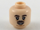 Part No: 3626cpb2190  Name: Minifigure, Head Dark Brown Eyebrows and Small Moustache, Medium Nougat Sagging Lines Under Eyes and Chin Pattern - Hollow Stud