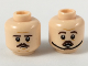 Part No: 3626cpb2212  Name: Minifigure, Head Dual Sided Dark Brown Eyebrows and Small Moustache, Medium Dark Flesh Lines Neutral/Concerned (Chin Strap) Pattern - Hollow Stud