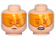 Part No: 3626cpb2237  Name: Minifigure, Head Dual Sided Orange Visor, Brown Eyebrows, Chin Dimple, Neutral / Concern Pattern (SW Cloud Car Pilot) - Hollow Stud