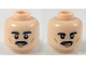 Part No: 3626cpb2246  Name: Minifigure, Head Dual Sided Black Eyebrows and Moustache, Medium Dark Flesh Cheek Lines, Smile / Nervous Smile Pattern - Hollow Stud