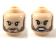 Part No: 3626cpb2251  Name: Minifigure, Head Dual Sided Dark Brown Heavy Stubble, Small Scowl / Furious Expression Pattern - Hollow Stud