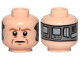 Part No: 3626cpb2256  Name: Minifigure, Head Dual Sided Alien with SW Dark Orange Eyebrows, Eyes with Pupils, Wrinkles, Frown / Implant Pattern (Lobot) - Hollow Stud