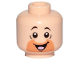Part No: 3626cpb2341  Name: Minifigure, Head with Orange Cut Half Circle Beard, Black Eyebrows, Open Mouth, Smile, Tongue Pattern (Barney Rubble) - Hollow Stud