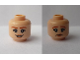 Part No: 3626cpb2348  Name: Minifigure, Head Dual Sided Female Dark Orange Eyebrows, Peach Lips, Smile / Sad Pattern (Claire Dearing) - Hollow Stud