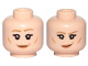 Part No: 3626cpb2357  Name: Minifigure, Head Dual Sided Female Dark Tan Eyebrows, Flesh Lips, Cheeks Lines, Eyebrow Raised, Smile / Smirk Pattern (Leia) - Hollow Stud