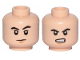 Part No: 3626cpb2358  Name: Minifigure, Head Dual Sided Black Eyebrows, Chin Dimple, Frown / Angry Pattern - Hollow Stud