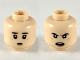 Part No: 3626cpb2391  Name: Minifigure, Head Dual Sided Dark Brown Eyebrows, Dark Orange Freckles, Worried / Angry Pattern - Hollow Stud