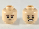 Part No: 3626cpb2395  Name: Minifigure, Head Dual Sided Dark Brown Eyebrows on Mole on Left Cheek, Neutral / Scared Pattern - Hollow Stud