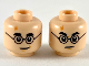 Part No: 3626cpb2413  Name: Minifigure, Head Dual Sided Medium Nougat Lightning Scar, Black Eyebrows and Glasses, Smile / Angry Pattern - Hollow Stud