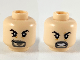 Part No: 3626cpb2444  Name: Minifigure, Head Dual Sided Black Eyebrows, Dark Bluish Gray Goatee, Smile / Angry Pattern - Hollow Stud