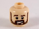 Part No: 3626cpb2448  Name: Minifigure, Head Dark Brown Eyebrows and Beard with Dark Tan Highlights Pattern