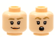 Part No: 3626cpb2480  Name: Minifigure, Head Dual Sided Female, Dark Tan Eyebrows, Peach Lips, Smile / Scared with Round Mouth Pattern - Hollow Stud