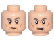 Part No: 3626cpb2497  Name: Minifigure, Head Dual Sided Dark Bluish Gray Eyebrows, Eye Bags, Cheek Lines, Chin Dimple, Grin / Angry Pattern (SW General Pryde) - Hollow Stud