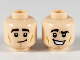 Part No: 3626cpb2499  Name: Minifigure, Head Dual Sided Black Eyebrows, Lopsided Grin / Large Smile with Raised Right Eyebrow Pattern - Hollow Stud