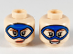 Part No: 3626cpb2512  Name: Minifigure, Head Dual Sided Female, Blue Domino Mask, Reddish Brown Eyebrows, Coral Lips, Lopsided Grin / Open Smile Pattern - Hollow Stud