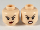 Part No: 3626cpb2514  Name: Minifigure, Head Dual Sided Female, Black Eyebrows, Dark Pink Lips, Smirk with Raised Left Eyebrow / Fierce Scowl Pattern - Hollow Stud