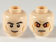 Part No: 3626cpb2515  Name: Minifigure, Head Dual Sided Black Eyebrows, Medium Dark Flesh Cheek Lines, Grin / Firm with Red Eyes Pattern - Hollow Stud