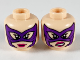 Part No: 3626cpb2517  Name: Minifigure, Head Dual Sided Female, Dark Purple Mask, Magenta Lips, Smile / Scowl Showing Teeth Pattern - Hollow Stud