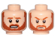 Part No: 3626cpb2521  Name: Minifigure, Head Dual Sided Dark Orange Beard and Eyebrows, Bared Teeth / Frown Pattern (SW Obi-Wan) - Hollow Stud