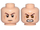 Part No: 3626cpb2522  Name: Minifigure, Head Dual Sided Dark Brown Eyebrows, Cheek Lines and Scar, Determined / Angry with Yellow Eyes Pattern (SW Anakin Sith) - Hollow Stud