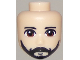 Part No: 37815  Name: Mini Doll, Head Friends Male with Brown Eyes, Black Beard and Moustache Pattern