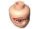 Part No: 38532  Name: Mini Doll, Head Friends with Brown Eyes, Glasses with Red Frame, Peach Lips with Lopsided Smile Pattern