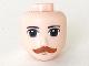 Part No: 48265  Name: Mini Doll, Head Friends with Dark Green Eyes, Dark Orange Moustache Pattern