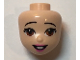 Part No: 66706  Name: Mini Doll, Head Friends with Black Raised Offset Eyebrows, Brown Eyes, Dark Pink Lips and Open Mouth Pattern
