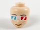 Part No: 66726  Name: Mini Doll, Head Friends with Medium Azure and Red 3D Glasses, Peach Lips and Freckles Pattern