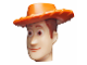 Part No: 87767pb01  Name: Minifigure, Head Modified Male with Dark Orange Hat Pattern (Woody)