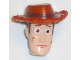 Part No: 87767pb02  Name: Minifigure, Head Modified Male with Dark Orange Hat and Dirt Stains Pattern (Woody)