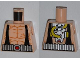 Part No: 973pb1098  Name: Torso Batman Muscles Outline with Black Suspenders and Silver Belt, Yellow Hoses on Back Pattern