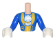 Part No: FTMpb016c01  Name: Torso Mini Doll Friends Blue Coat with White Ascot, Yellow Trim Pattern, Blue Arms with White Gloves