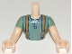 Part No: FTMpb029c01  Name: Torso Mini Doll Friends Sand Green Top with Suspenders Pattern, Light Flesh Arms with Hands with Sand Green Sleeves Pattern
