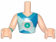 Part No: FTMpb041c01  Name: Torso Mini Doll Friends Top with Silver Disc Pattern, Light Flesh Arms with Hands with Dark Turquoise Band on Right Arm Pattern