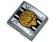 Part No: 15068pb025  Name: Slope, Curved 2 x 2 with Black Stripes, Chima Eagle Emblem and Rivets Pattern (Sticker) - Set 70223