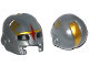 Part No: 17014pb01  Name: Minifigure, Headgear Helmet Space with Mouth Slit and with Black Eye Holes, Red Star and Gold Markings Pattern