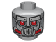 Part No: 3626cpb1114  Name: Minifigure, Head Alien with Robot Red Eyes and Mouth and Silver Metal Plates Eyebrows and Mask Pattern - Hollow Stud