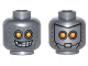 Part No: 3626cpb1502  Name: Minifigure, Head Dual Sided Alien Robot with Yellow Eyes, Mask with Metal Bolts, Closed Mouth / Open Mouth Pattern - Hollow Stud
