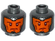 Part No: 3626cpb1521  Name: Minifigure, Head Dual Sided Balaclava, Orange Face, Dark Red Eyebrows and Cheek Lines, Determined / Raised Eyebrow Pattern - Hollow Stud