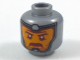 Part No: 3626cpb1954  Name: Minifigure, Head Balaclava, Orange Face, Dark Red Eyebrows and Moustache Pattern - Hollow Stud