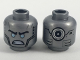 Part No: 3626cpb2029  Name: Minifigure, Head Dual Sided Alien Shiny Blue Eyes, Black Eyebrows and Face Contours, Large Circle on Back Pattern - Hollow Stud