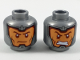 Part No: 3626cpb2055  Name: Minifigure, Head Dual Sided Balaclava, Orange Face, Dark Red Eyebrows and Cheek Lines, Firm / Gritted Teeth Pattern - Hollow Stud