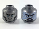 Part No: 3626cpb2447  Name: Minifigure, Head Dual Sided Black Eyebrows, Silver Eyes, Smile / Silver Pupils, Energy, Angry Pattern (Zane) - Hollow Stud