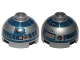 Part No: 553pb017a  Name: Brick, Round 2 x 2 Dome Top with Red Dots, Small Receptor and Dark Blue Pattern (R2-D2)