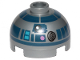 Part No: 553pb037  Name: Brick, Round 2 x 2 Dome Top with Dark Pink Dots, Large Receptor and Dark Blue Pattern (R2-D2)