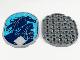 Part No: 65474pb06  Name: Tile, Round 6 x 8 Oval with Dark Blue Nokk, Elsa on Medium Azure Background, Stars and Ice Crystal Pattern