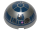Part No: 86500pb04  Name: Cylinder Hemisphere 4 x 4 with R2-D2 Astromech Droid Pattern